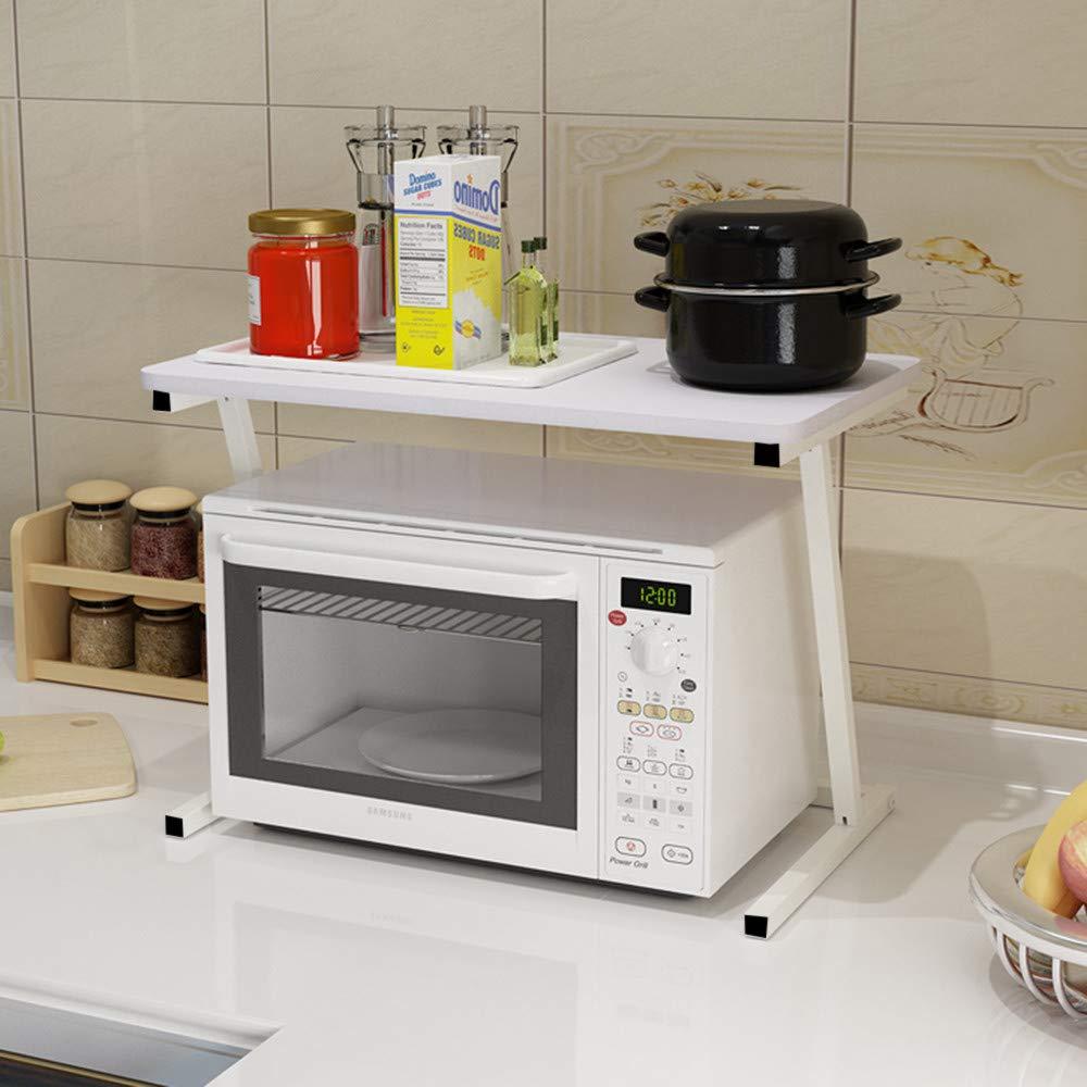 Gotian 2 Tier Shelf Microwave Oven Rack - Kitchen Storage Shelf Tool Holder Organiser - 23.6×13.8inch, for Small Kitchen Storage (White)