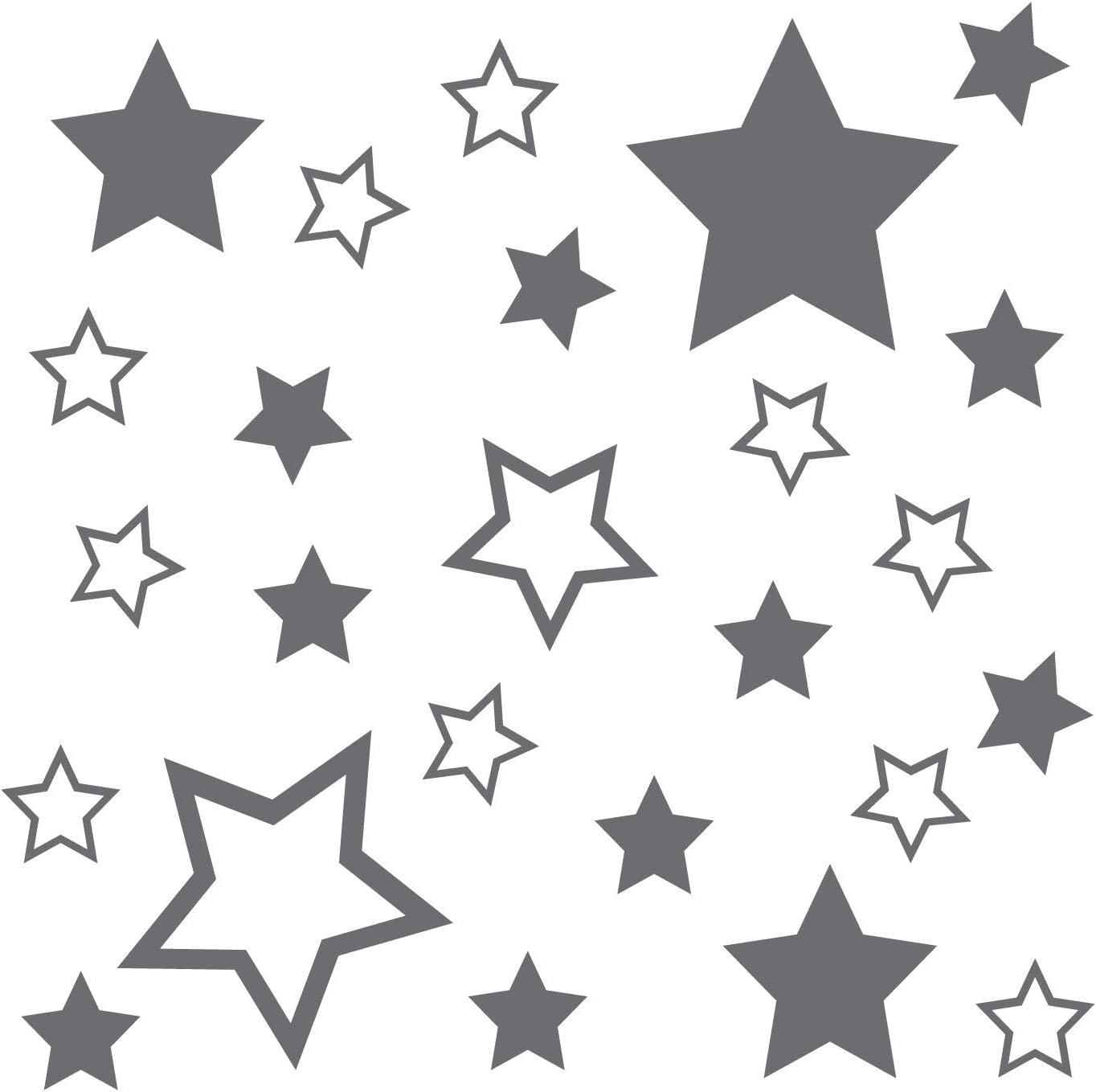 Kleb Drauf 25 Sterne Silber Matt Autoaufkleber Autosticker Decal Aufkleber Sticker Auto Car Motorrad Fahrrad Roller Bike Deko Tuning Stickerbomb Styling Wrapping Auto
