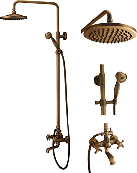 Bath Shower Faucet Set Complete Antique Brass Finish Wall Mount With 8 Rain Shower Head Hand Shower And Tub Faucet Rain Mixer Shower Combo Set Tub Filler Faucets Amazon Com