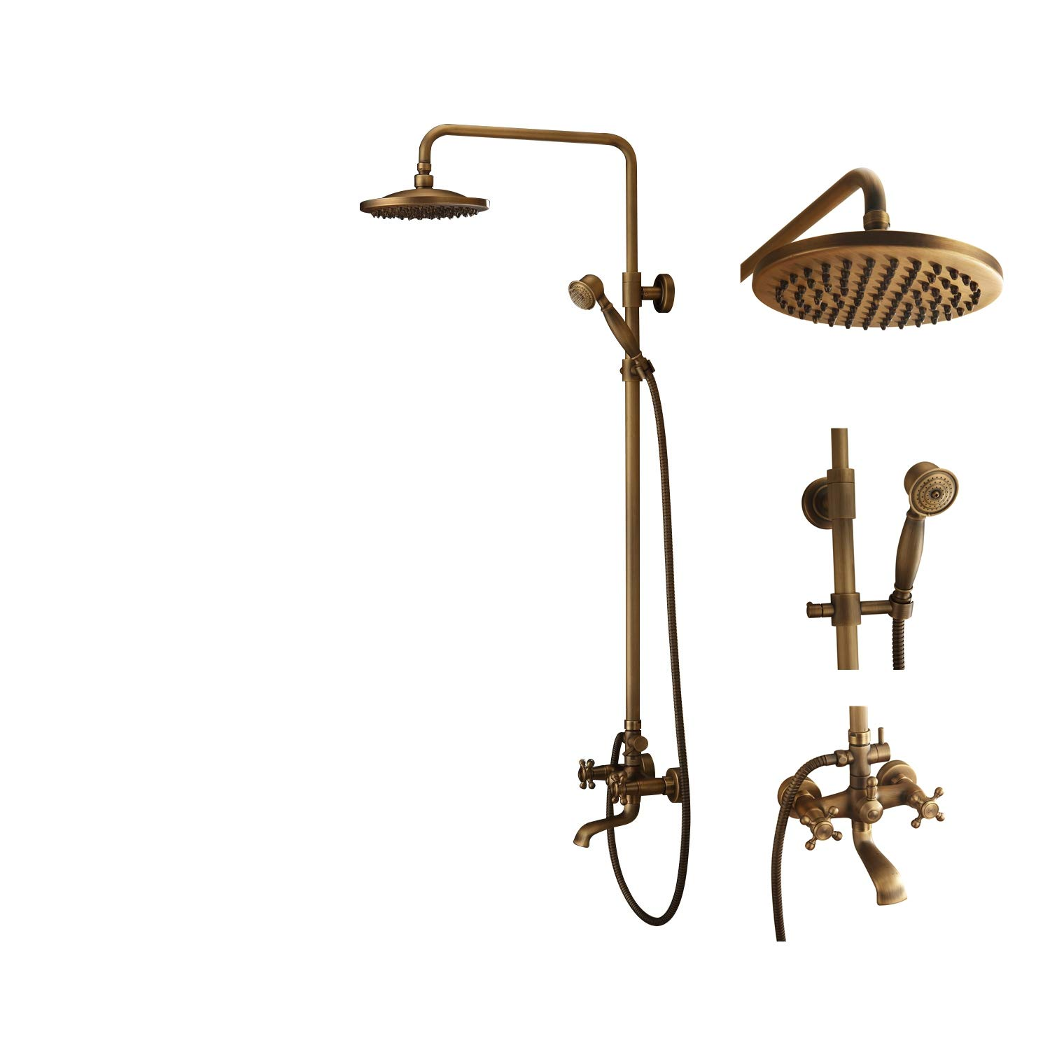 Bath Shower Faucet Set Complete Antique Brass Finish Wall Mount With