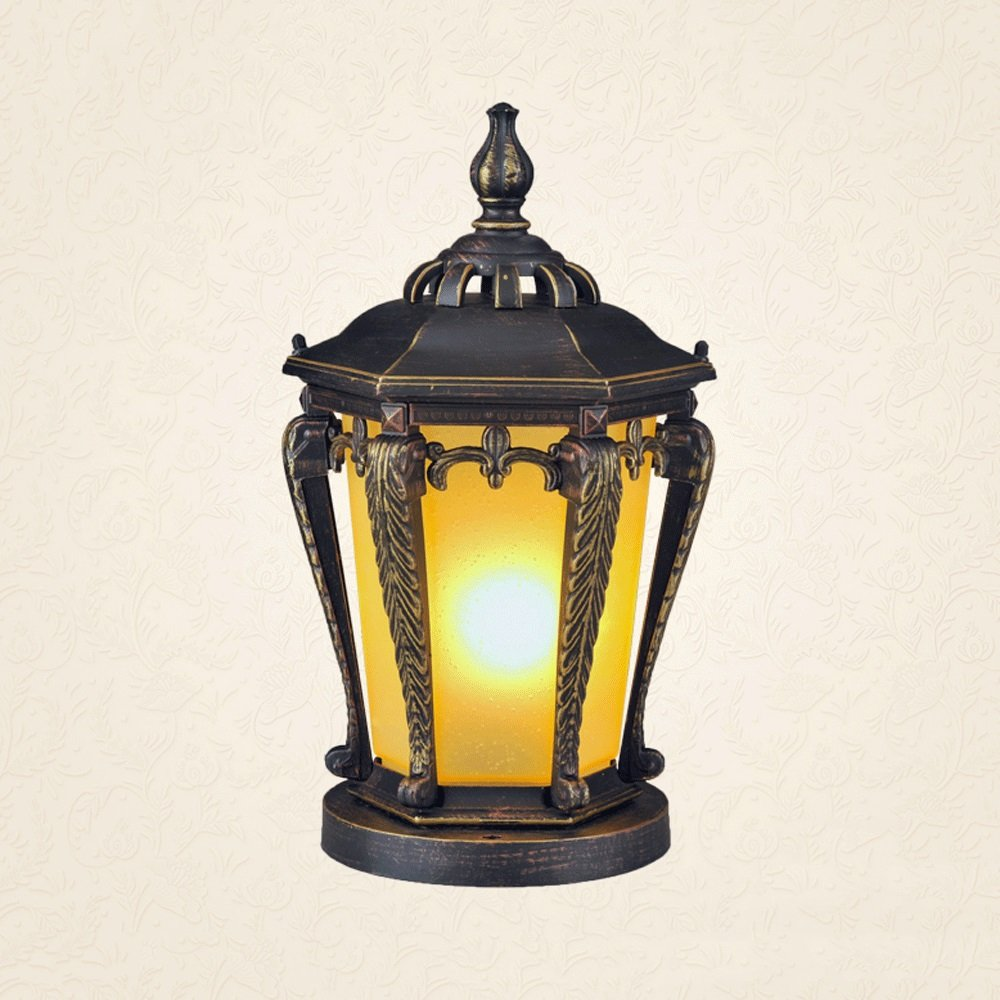 Modeen European Lantern Glass Outdoor Table Lamp Column Light Tradition Antique Aluminum Waterproof Street Post Light E27 Decoration Garden Light Lawn Lamp Illumination Light Fixture