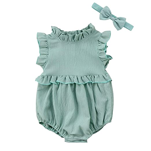 904037aa5 Amazon.com  Newborn Baby Girl Clothes Ruffles Pleated Collar Romper ...