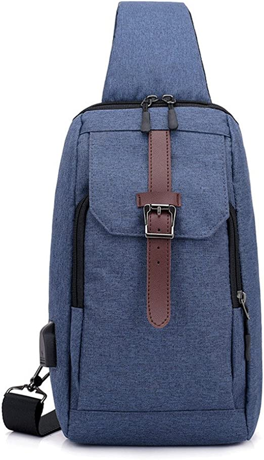 Bolsa de pecho para hombre y mujer Sling Bag Chest Pack Crossbody Casual ligero con USB
