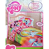 My Little Pony Twin Sized 4 Piece Bedding Set - Comforter and Sheet Set with Sparkly Glitter Fabric