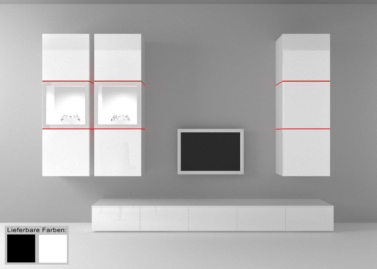Dreams4Home Wohnwand Square Anbauwand Schrankwand weiß o schwarz hochglanz opt LED-RGB-Beleuchtung, Beleuchtung:ohne Beleuchtung;Farbe:Weiß