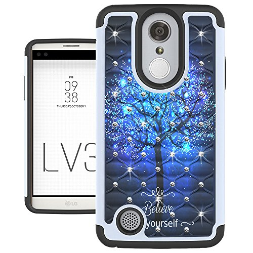 LG Aristo Case, LG Phoenix 3 Case, LG K8 2017 Case, LG Fortune Case, LG LV3 Case, UrSpeedtekLive [Shock Absorption] Studded Rhinestone Bling Dual Layer Protective Case Cover – Galaxy Tree
