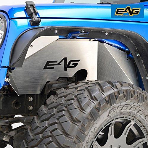 EAG 07-18 Jeep Wrangler JK Front Inner Fender Liner Wells Silver (Inner Wheel Well)