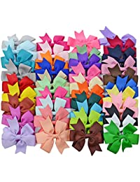 40PCS Boutique Barrette Hair Bows for Teens Babies Girls (3 Inch bow)