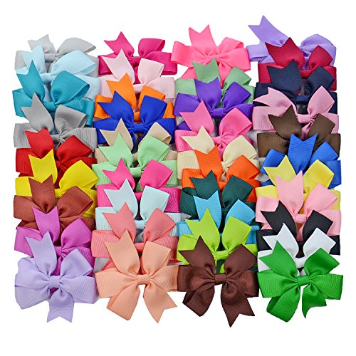 40PCS Boutique Barrette Hair Bows for Teens Babies Girls (3 Inch bow) ()