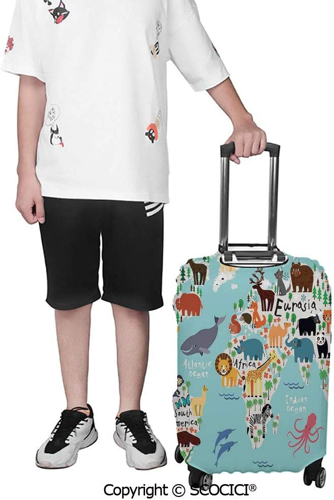 SCOCICI Luggage Cover Ink Illustration of Pedestrians on Busy Street with Buildings Modern Cityscape Protective Travel Trunk Case Elastic Luggage Suitcase Protector Cover