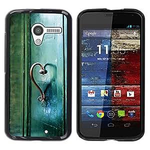 FECELL CITY // Duro Aluminio Pegatina PC Caso decorativo Funda Carcasa de Protección para Motorola Moto X 1 1st GEN I XT1058 XT1053 XT1052 XT1056 XT1060 XT1055 // Teal Heart Door Photo Beaut