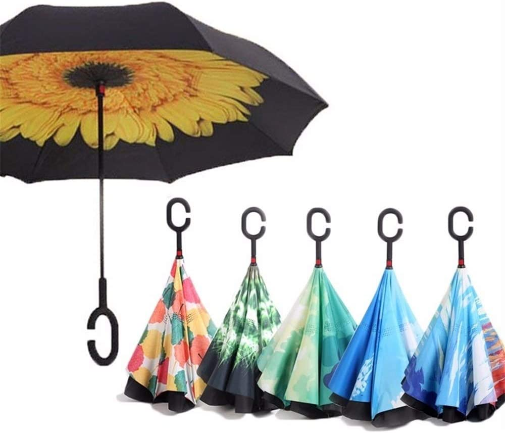 XIANGNAIZUI Reverse Umbrellas for Double Layer Umbrella Cloth Inverted Umbrellas Shape Handle Windproof Umbrella Long Handle Rain Gear Color : Purple