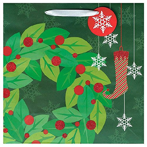 Contemporary Christmas Wreath Paper Gift Bag | Party ()