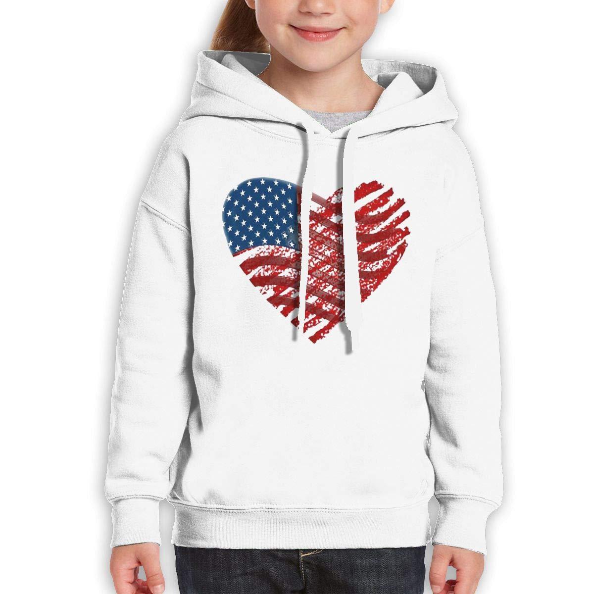 Xxxx Dtjscl Boys Girls American Flag Heart Teen Youth Fleeces Black