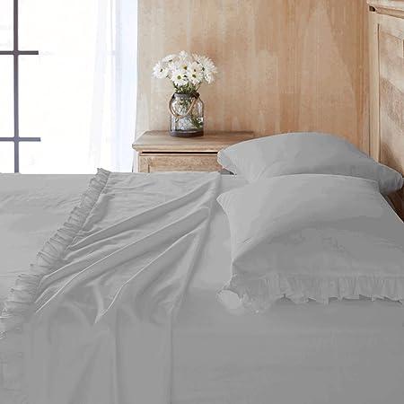 Scala Bedding - Sábana encimera (600 hilos, 100% algodón egipcio, 1 pieza), diseño de volantes, varios colores, algodón egípcio, gris claro, matrimonio: Amazon.es: Hogar