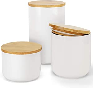 Ceramic Food Storage Jar Food Container With Bamboo Lids Candy Preserving -3 pcs