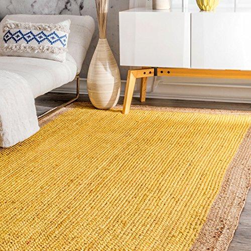 Rug Border Jute (Handmade Natural Fibers Border Jute Yellow Area Rugs, 5 Feet by 8 Feet (5' x 8'))