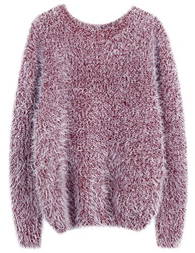 Sweaters Hiver Sweater Pullover Maille Bourgogne Tops Jumper Femme Rond Pull Rouge Col Chandail Mohair Automne Casual Longues Tricots Femme axpCqnwYg