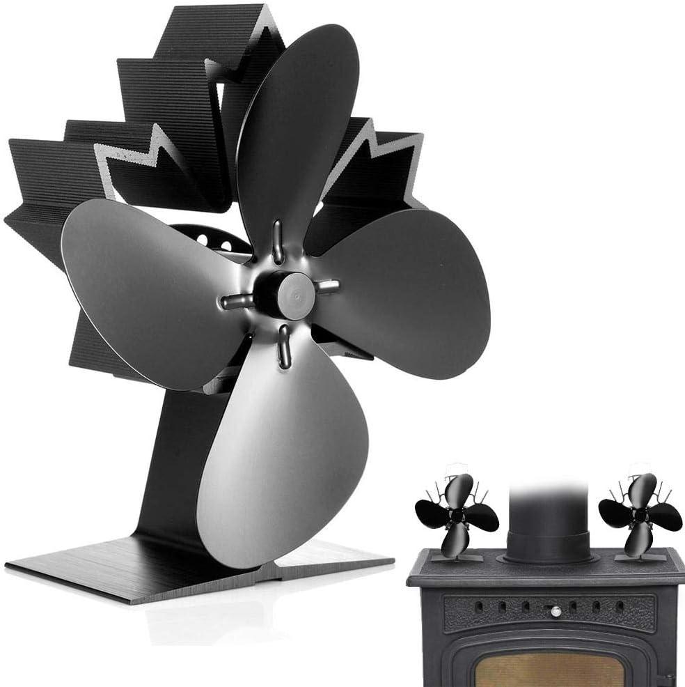 Ventilateur De Po/êle -4 Po/êles Bois//Po/êle /À Bois Silencieux En Bois//Po/êles /À Bois//Po/êles /À Chaleur//Po/êles /À Bois Pour Po/êles /À Bois Chemin/ée noir