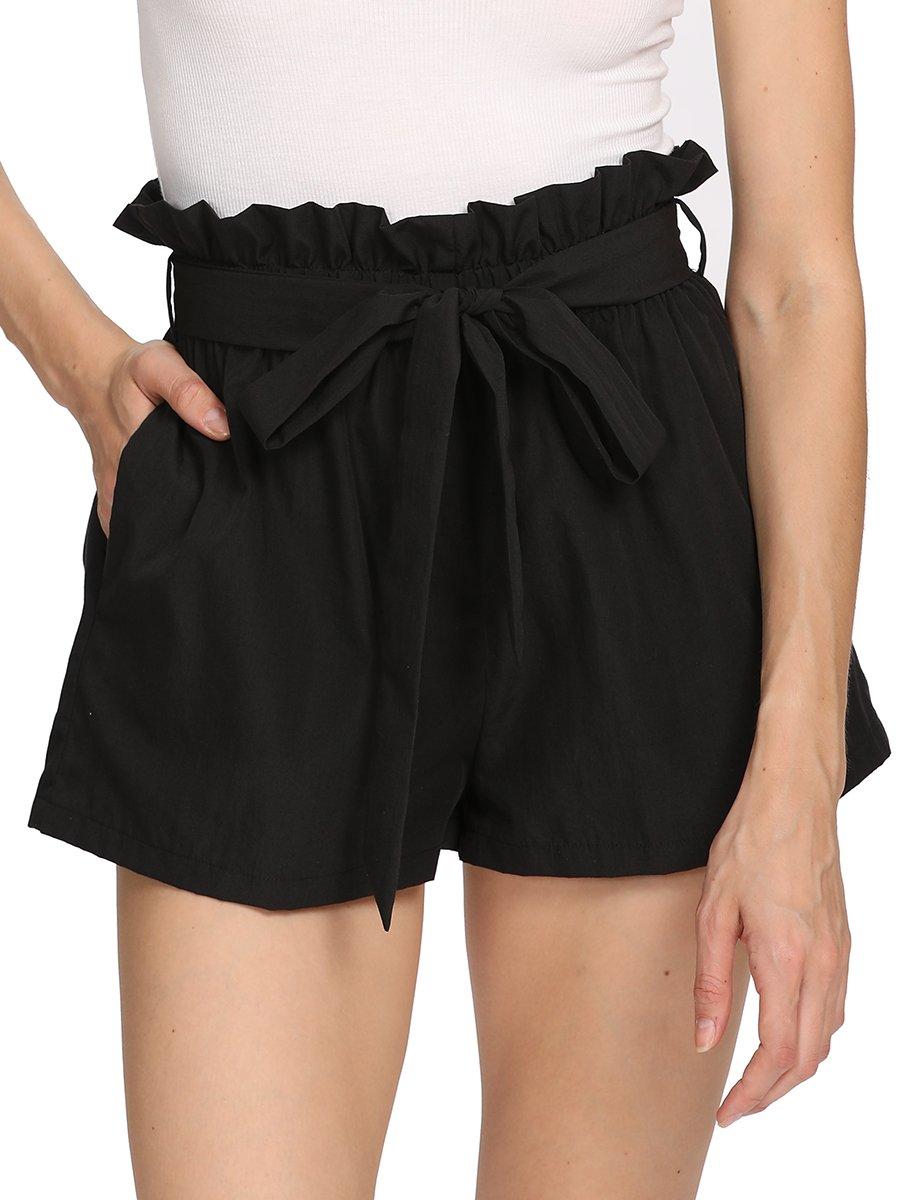 Romwe Women's Casual Elastic Waist Summer Walking Shorts with Pocket Black M