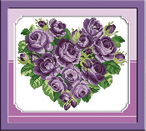 CaptainCrafts New Cross Stitch Kits Patterns Embroidery Kit - Rose Heart Purple (WHITE) -