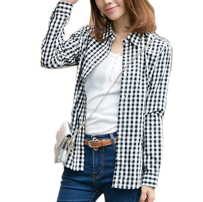ae8d12b9600 Image Unavailable. Image not available for. Color  Fesky Womens Red Buffalo  Plaid Shirts ...