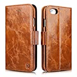 iPhone 6 / 6S Case, Icarercase Oil Wax Vintage Genuine Leather Detachable 2 in 1 Case, Wallet Folio Flip and Back Cover Design with Magnetic Strap for iPhone 6 / 6S 4.7 inch (Brown)