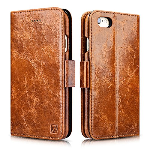iPhone 6 / 6S Case, Icarercase Oil Wax Vintage Genuine Leather Detachable 2 in 1 Case, Wallet Folio Flip and Back Cover Design with Magnetic Strap for iPhone 6 / 6S 4.7 inch (Apple Iphone Genuine Leather)