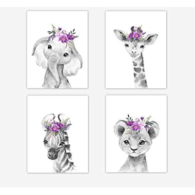 Baby Girl Nursery Wall Art Purple Floral Safari Animals Elephant Giraffe Lion Zebra Room Decor 4 UNFRAMED PRINTS: Handmade