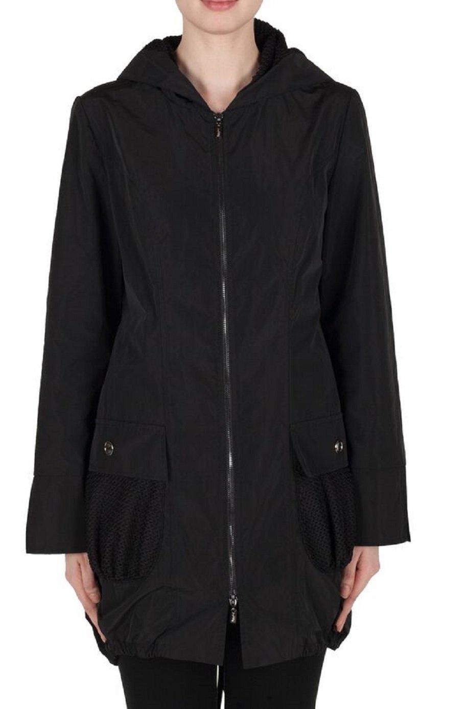 Joseph Ribkoff Black Front Zip Hooded Windbreaker Jacket Style 173496 Size 8 by Joseph Ribkoff