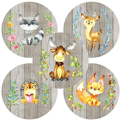 Enchanted Forest Baby Shower - Woodland Forest Animals Sticker Labels - Birthday Baby Shower Enchanted Party Supplies - Set of 50