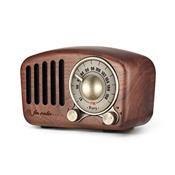 Vintage Radio Retro Bluetooth Speaker - Mifine Walnut Wooden FM Radio with  Old Fashioned Classic Style, Strong Bass Enhancement, Loud Volume, Supports