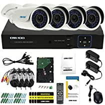 OWSOO 8ch Channel Full 1080N/720P 1500TVL AHD DVR Security System P2P Cloud Network Digital Video Recorder + 1TB HDD + 4720P Outdoor CCTV Camera + 460ft Surveillance Cable