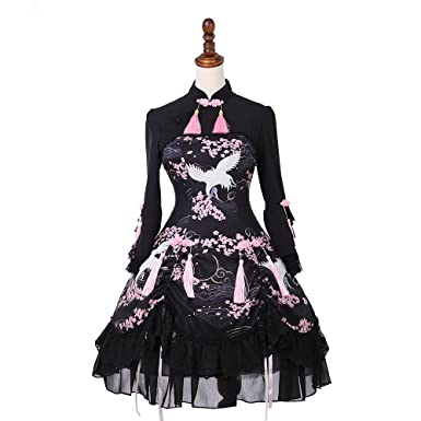 Amazon com: yingluofu Women's Chinese Gothic Lolita Dress Landscape