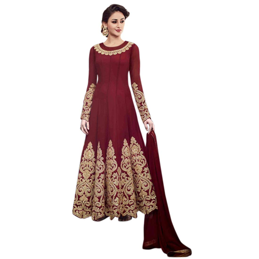 94674238372309 MONIKA SILK MILL Women's Georgette Embroidery Semi-Stitched Anarkali Suit  with Dupatta (Red, Free Size): Amazon.in: Clothing & Accessories