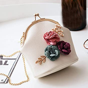 Women Retro Flower Evening Handbag Chain Strap Shoulder Crossbody Bag Purse Clutch