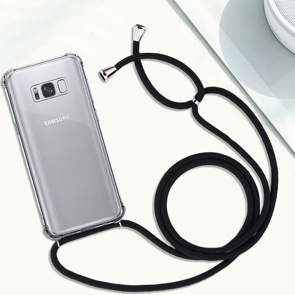 Moda y Practico Anti-rasgu/ños Negro Suave Silicona Transparente TPU Carcasa de movil con Cadena YuhooTech Funda con Cuerda para Samsung Galaxy A50, Anti-Choque