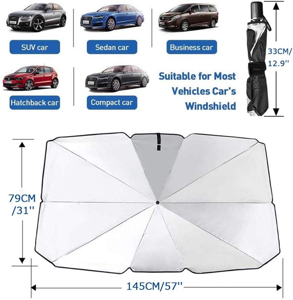 Chouky Sedan SUV Car Sun Shade for Windshield UV Rays and Heat Sun Visor Protector,Foldable Windshield Sun Shade Umbrella,Keep Car Cool,Easy to Use//Store,57x 31
