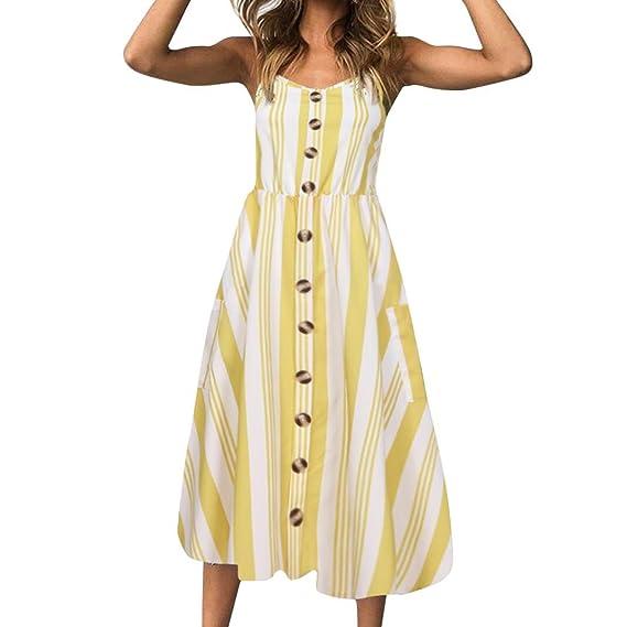Kleid Damen Kolylong® Frauen Elegant Gestreift Ärmellose Kleid Knielang Slim Böhmen Kleid Mit Gürtel Retro Rückenfrei Schulterfrei Kleider Strandkleid