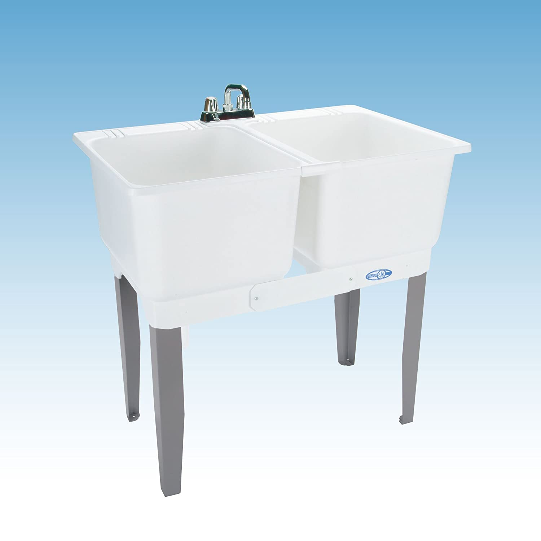 Mustee 22C Utilatwin Combo Laundry/Utility Tub, White   Double Bowl Sinks    Amazon.com