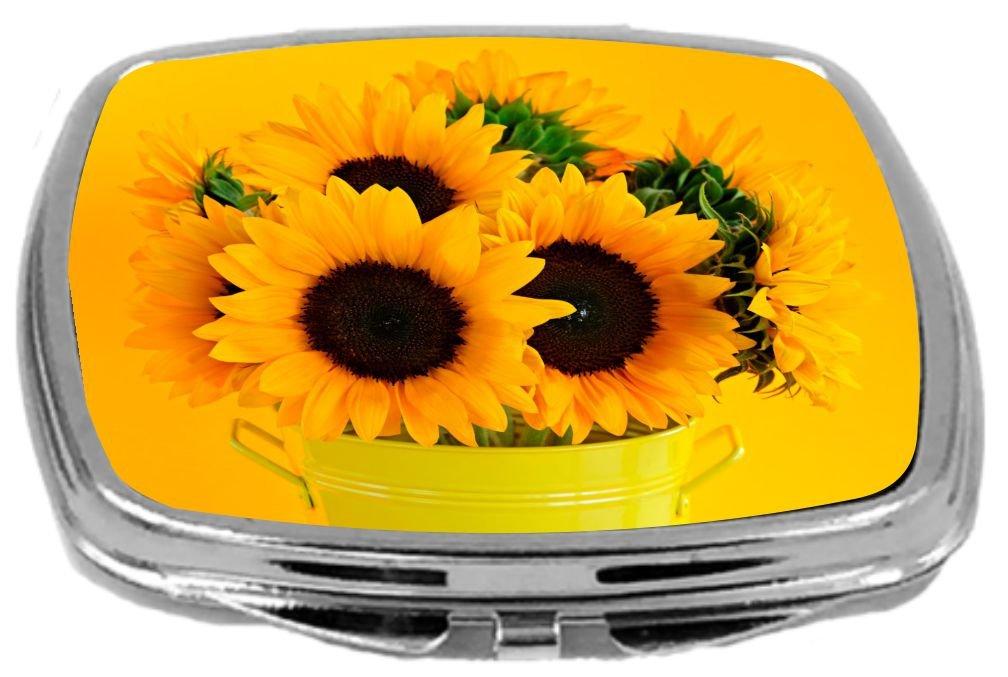 Rikki Knight Compact Mirror, Sunflowers In Vase by Rikki Knight