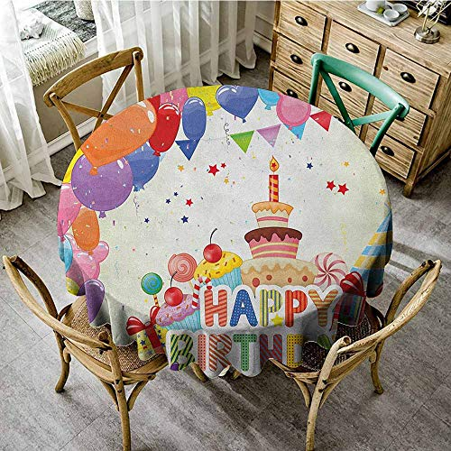 Round Tablecloth Brown Pattern 70