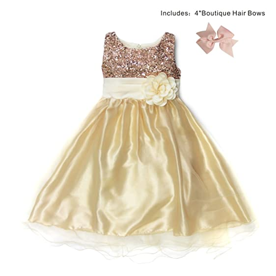 363d52009 Girls Toddler Sequined Mesh Flower Party Wedding Bridesmaid Tulle Dress  (XL, Beige)