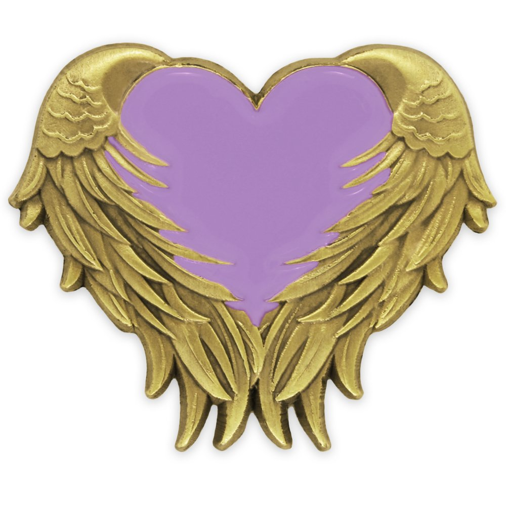 PinMart Lavender Heart with Antique Gold Angel Wings Enamel Lapel Pin