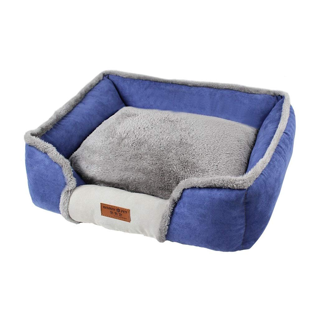 60x46cm PLDDY Dog Nest, Soft Washable Dog Pet Warm Basket Bed Cushion with PP Cotton Lining, Rubber Nonslip Moistureproof, Small Medium and Large Dog Bed Pet Nest,bluee (Size   60x46cm)