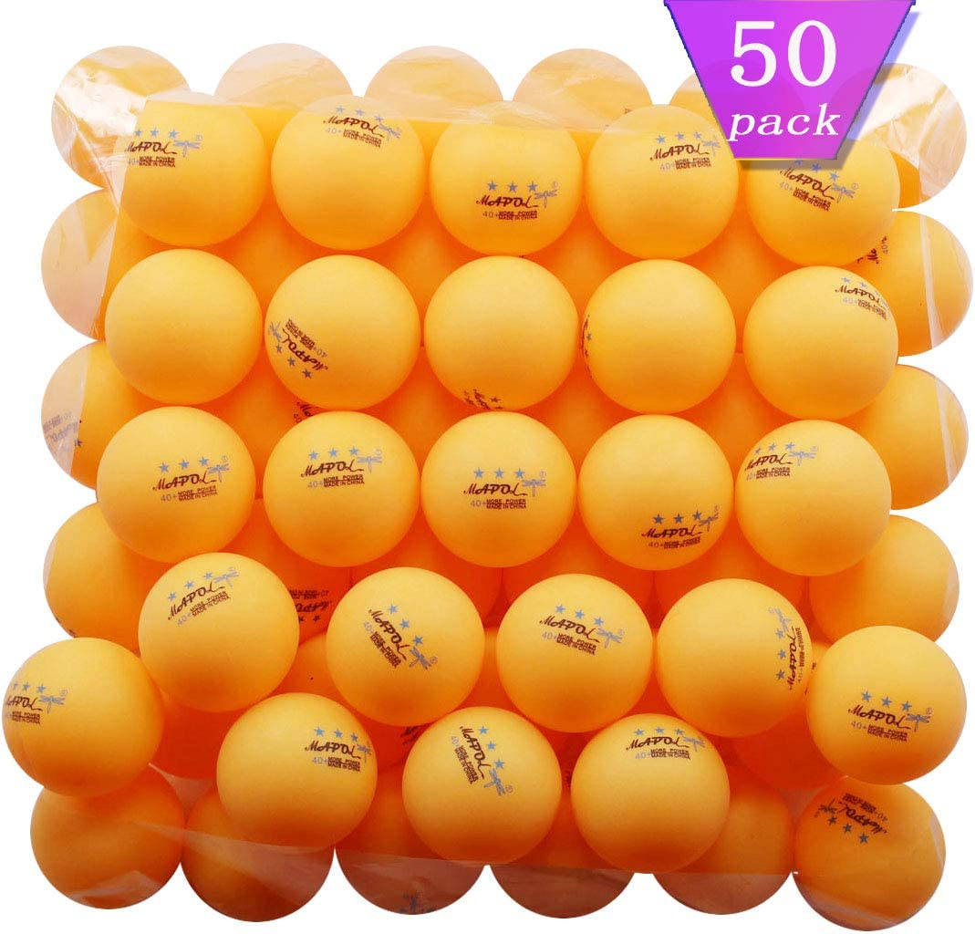 MAPOL 50- Pack Orange 3-Star Premium Ping Pong Balls Advanced Training Table Tennis Ball