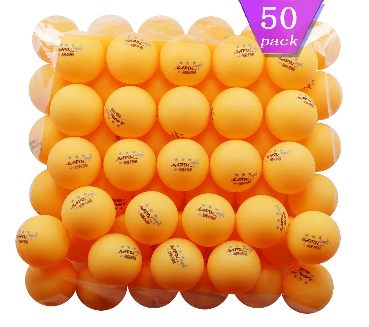 50 Pelotas de Ping Pong 3 Estrellas MAPOL Naranja