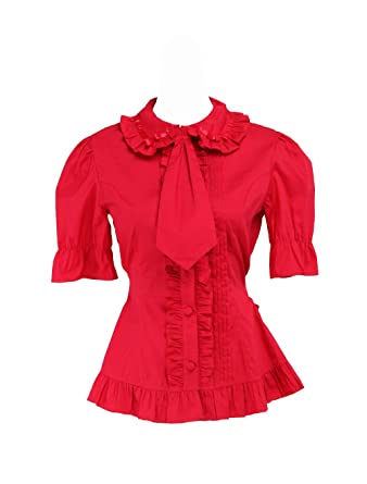 b774b47c014fe7 Amazon.com  antaina Red Cotton Ruffle Lace Bow Tie Sweet Sexy Lolita ...