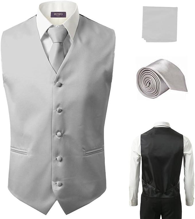 3Pcs Vest Tie Hankie Fashion Men/'s Formal Dress Suit Slim Tuxedo Waistcoat Black