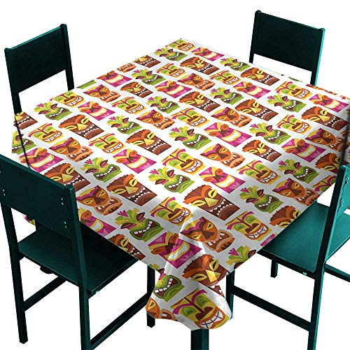 Tiki Bar Decor Fabric Tablecloth 60s Retro Inspired Cute Hawaiian Party Happy Tiki Statues Pattern Colorful Multicolor Tablecloth for Square Table W 60